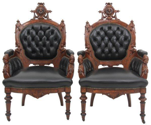 Pr. John Jelliff Walnut Parlor Armchairs