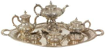 7 Pc Gorham Sterling Tea Set With Tray