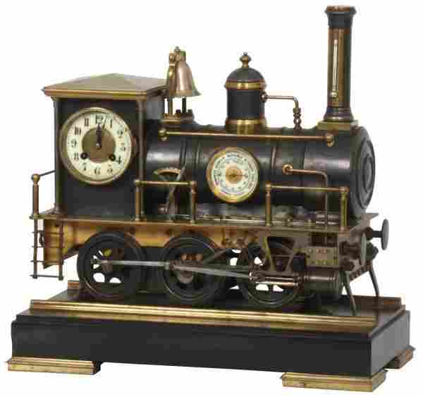 Bronze Animated Locomotive Industrial Clock