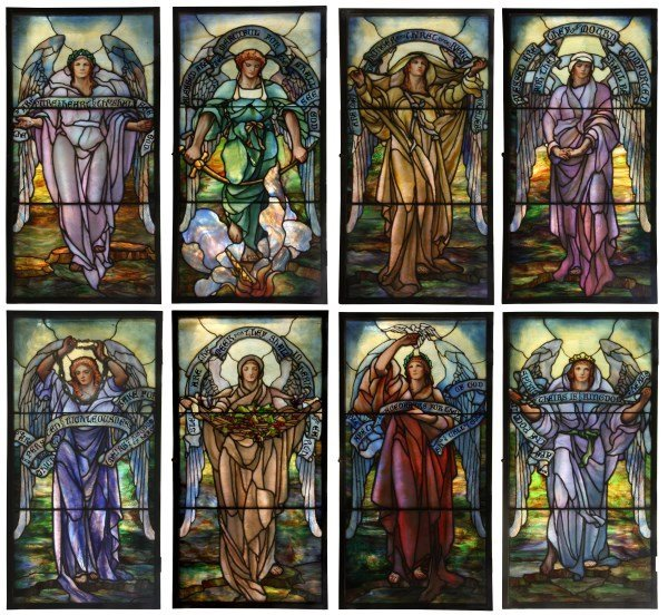 8 Tiffany Studios Windows - Beatitudes of Jesus