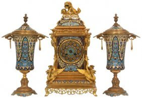 3 Pc. French Bronze Champleve Clock Set