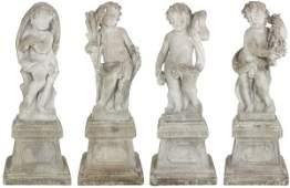 Set of Cement 4 Seasons Garden Sculptures