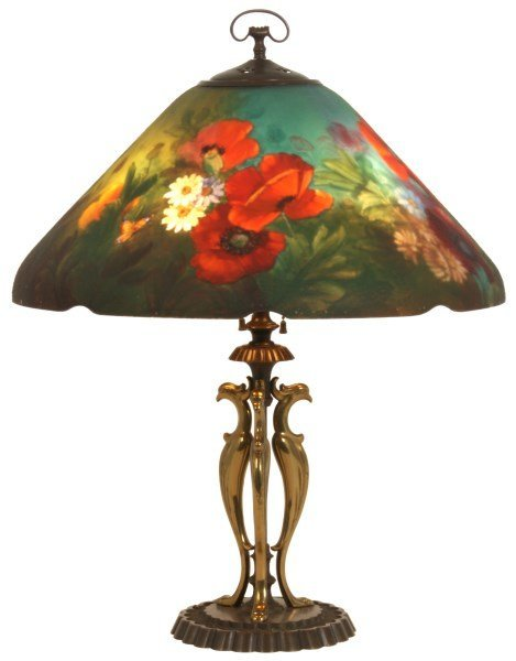 Handel Poppy Reverse Painted 18 in. Table Lamp