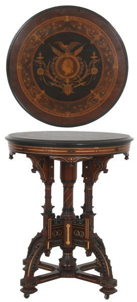 Exceptional Centennial Inlaid Top Center Table