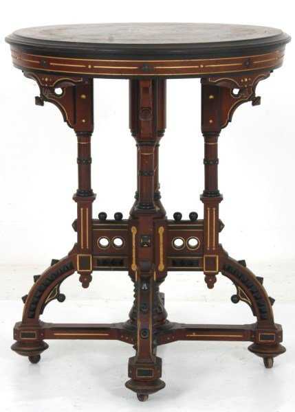 Exceptional Centennial Inlaid Top Center Table - 2
