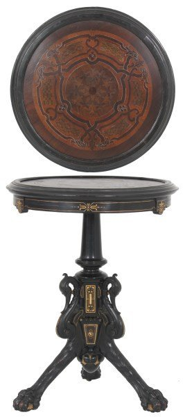 Micro Marquetry and Pewter Inlaid Top Center Table