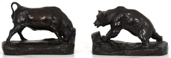 C.R. Knight Bull & Bear Bronze Sculptures