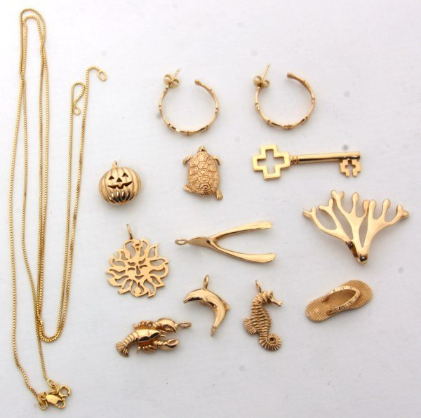 11 Pcs. 14K Yellow Gold Breakell Jewelry