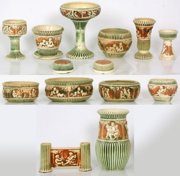 14 Pcs. Roseville Pottery Donatello Pattern