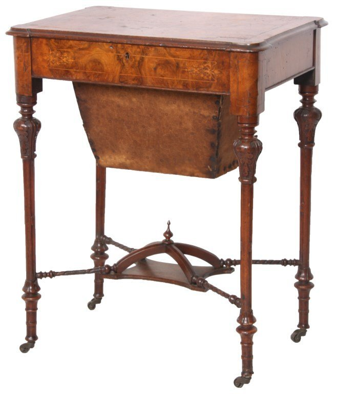 Inlaid Walnut Lift Top Sewing Stand