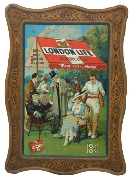 London Life Cigarettes Self Framed Sign