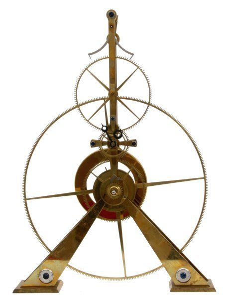 Brass Great Wheel Skeleton Clock