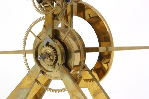 Brass Great Wheel Skeleton Clock - 4