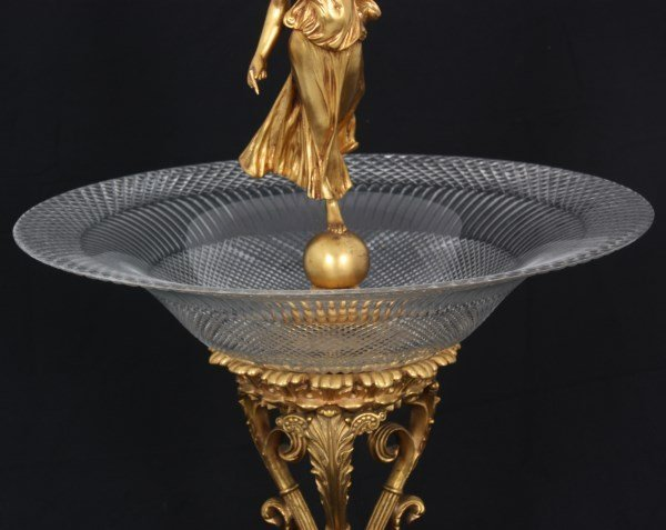 French Bronze & Cut Glass Center Bowl - 9