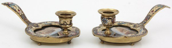 Pr. Gilt Brass & Champleve Chamber Sticks - 4