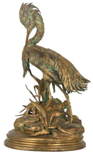 Bronze Moigniez Egret Sculpture