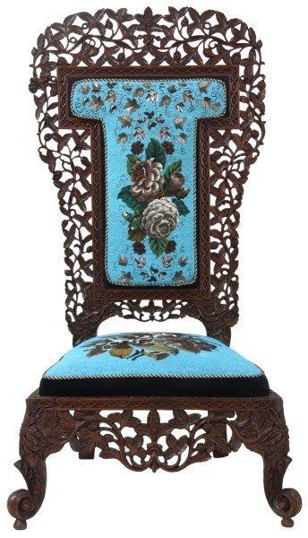 Pierced Carved Teak Hall Chair