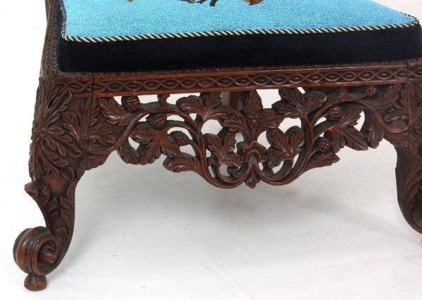 Pierced Carved Teak Hall Chair - 5