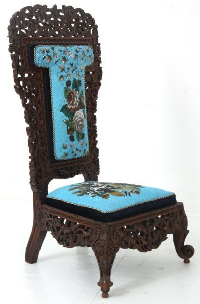 Pierced Carved Teak Hall Chair - 6