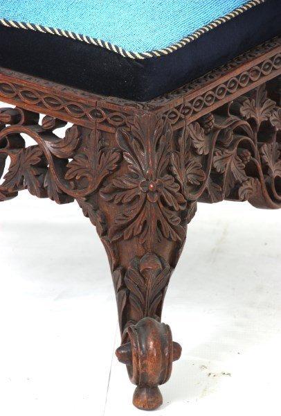 Pierced Carved Teak Hall Chair - 7