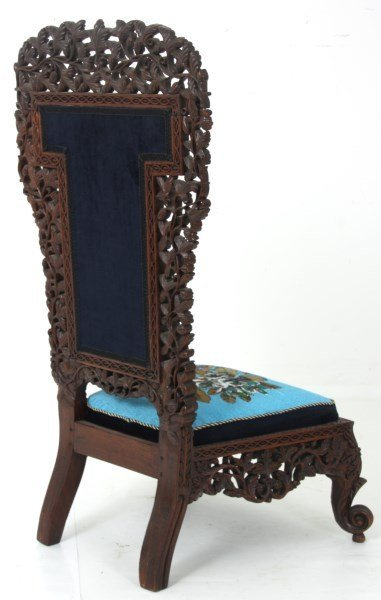Pierced Carved Teak Hall Chair - 9