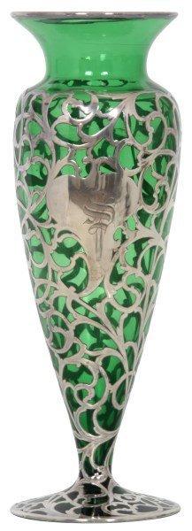 Silver Overlay & Emerald Glass Vase