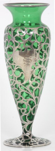 Silver Overlay & Emerald Glass Vase - 2