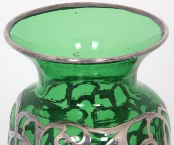 Silver Overlay & Emerald Glass Vase - 3