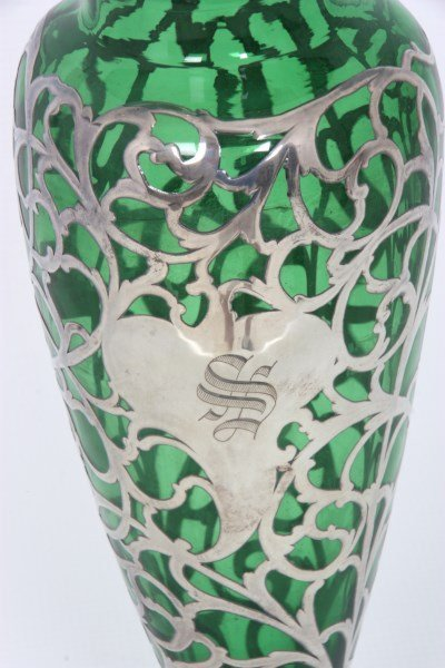 Silver Overlay & Emerald Glass Vase - 4