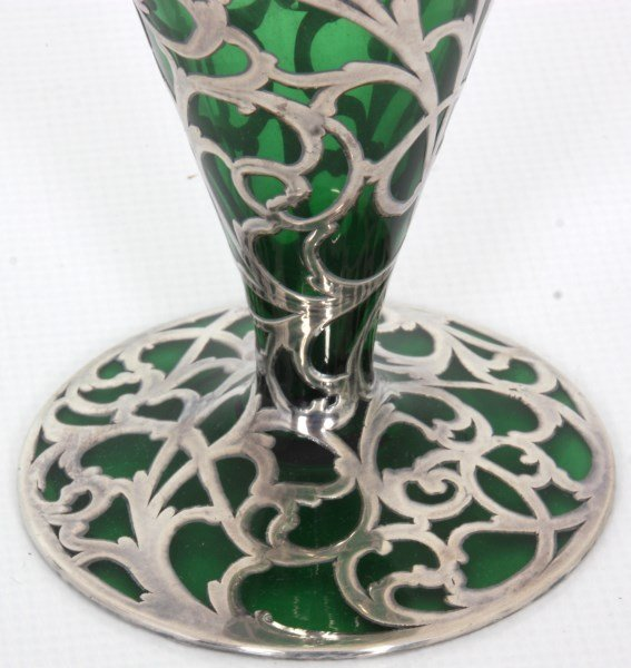 Silver Overlay & Emerald Glass Vase - 5