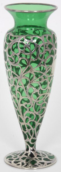 Silver Overlay & Emerald Glass Vase - 6