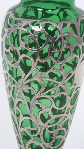 Silver Overlay & Emerald Glass Vase - 7