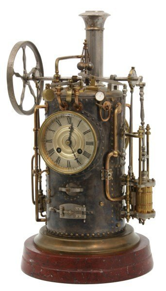 French Industrial Animated Steam Pump Clock