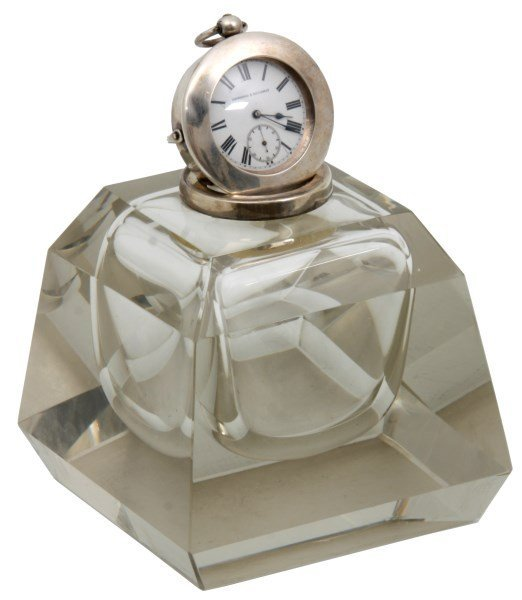 Sterling & Crystal Watch Holder Inkwell