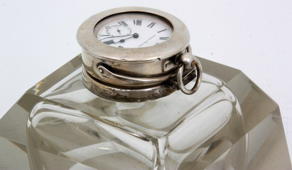 Sterling & Crystal Watch Holder Inkwell - 4
