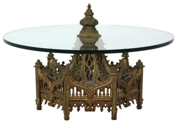Gothic Pierced Bronze Center Coffee Table