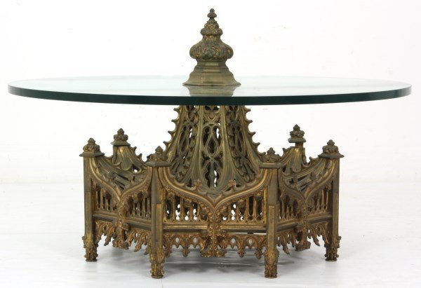 Gothic Pierced Bronze Center Coffee Table - 2