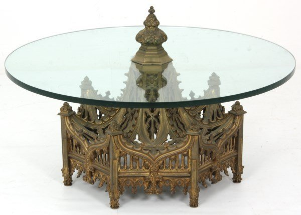 Gothic Pierced Bronze Center Coffee Table - 3