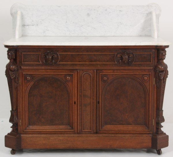 Walnut Marble Top Full Commode - 2