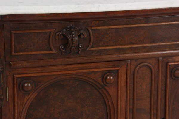 Walnut Marble Top Full Commode - 6