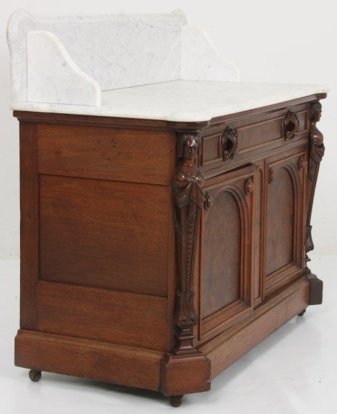 Walnut Marble Top Full Commode - 9