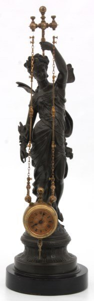 French Figural Mystery 2 Chain Swinger Clock