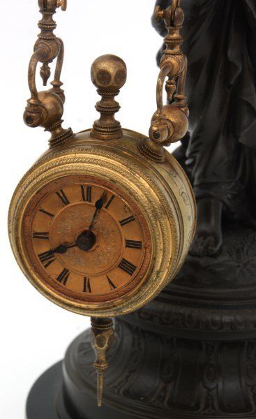 French Figural Mystery 2 Chain Swinger Clock - 5