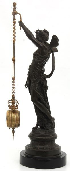 French Figural Mystery 2 Chain Swinger Clock - 7