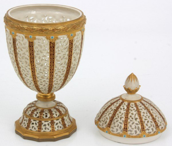 Grainger & Co. Reticulated Porcelain Urn - 7