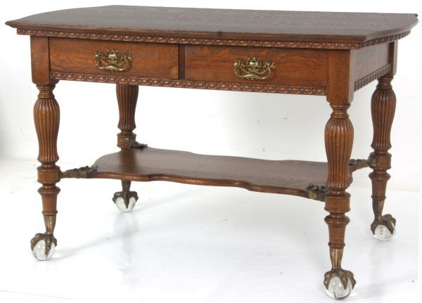 Oak 2 Drawer Claw Foot Library Table