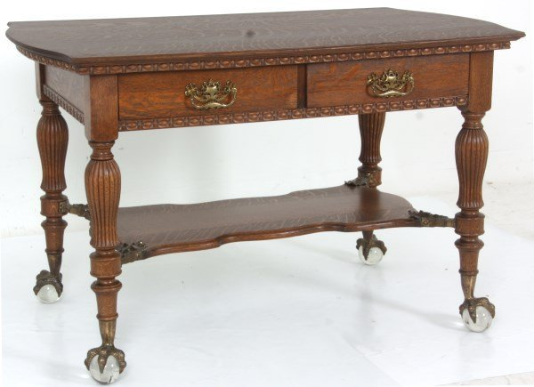 Oak 2 Drawer Claw Foot Library Table - 3