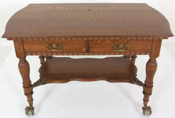 Oak 2 Drawer Claw Foot Library Table - 4