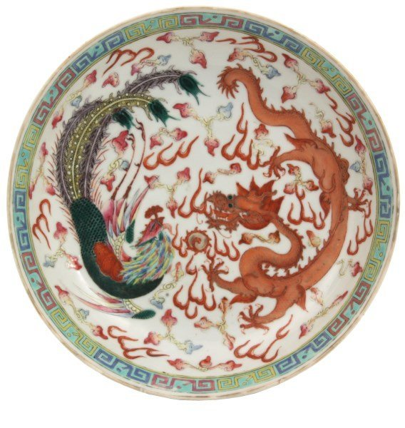 Chinese Dragon and Phoenix Low Bowl