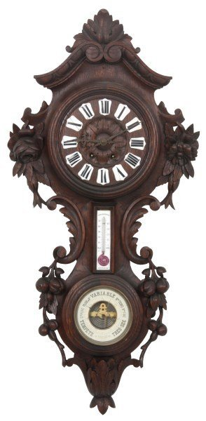 Black Forest Carved Wall Clock and Barometer